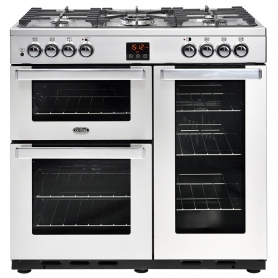 Belling Cookcentre 90cm Dual Fuel Range Cooker Professional Stainless Steel